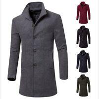 Mens Slim Trench Coat Winter Warm Thicken Jacket Parka Peacoat Long Overcoat Top