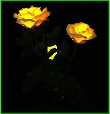 Solar Yellow Rose , Bush of 3 Flowers LED Garden Stake Lawn Lights