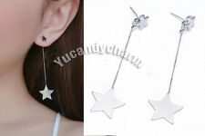 Unique style Made in Korea Double Silver Stars Back Drop Earrings Studs SET