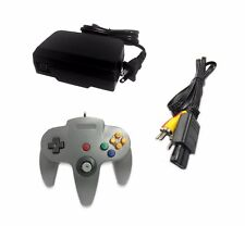 AC Adapter + Grey Controller + AV Cable Cord Bundle for Nintendo 64 N64