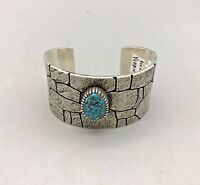 Gorgeous!! High Grade Spiderweb Turquoise & Textured Bracelet by Kee Yazzie!!