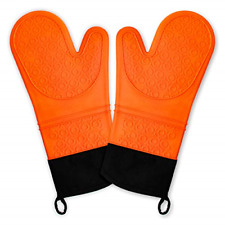 Chrider Silicone Non Slip Oven Mitts Set, Heat Resistant Cooking Gloves Bbq Oven
