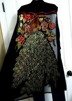 JOHN MARK NWT $140 Peacock Artsy Boho Funky Loose Duster Vest Topper Plus 1X