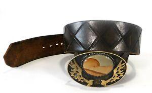 "Vintage David Yurman Putnam Arts Works 41""L Leather Belt Ceramic Brass Buckle"