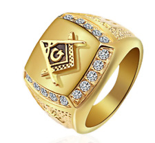 Rhinestone Free-Mason Logo Jewelry Gift Fashion Gold Titaniu