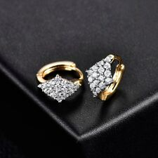 Smart Women Swarovski Crystal 18K Gold Platinum Engagement Small Hoop Earrings