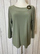 Sag Harbor Size Large Womens Long Sleeve Round Neck Blouse Top Green