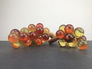 2 Bunches of Vintage Lucite Grapes