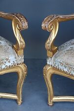 Impressive gilded French rococo armchairs Louis XV gold walnut large comfortable