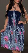 Sexy Miss Damen Neckholder Sommer Kleid Pfau Dress 34/36/38 Print blau bunt