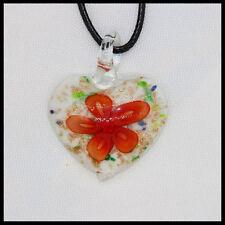Fashion Women's heart lampwork Murano art glass beaded pendant necklace #A15