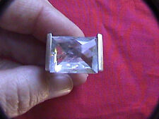 unisex clear stone sterling silver ring 925 clear stone .40 oz. size 6