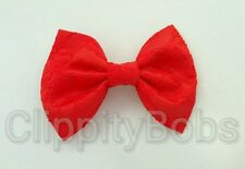 """LADIES GIRLS HANDMADE 4"""" RED SATIN & LACE FABRIC BOW HAIR CLIP BOBBLE CLASP"""