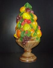 Vintage Chalkware Fruit Centerpiece Grapes Oranges Bananas Cherries Peaches 18""