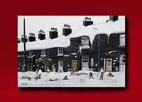 TERRY ALLEN ORIGINAL OIL PAINTING 'STOCKPORT SNOW STREET SCENE' NORTHERN ARTIST