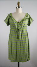 Juicy Couture Green Gray Striped Long Tunic Blouse Tie Front Size P