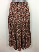 "WOMENS DOROTHY PERKINS BROWN PINK FLORAL ZIP UP FLARED LONG SKIRT 25""WAIST UK 12"
