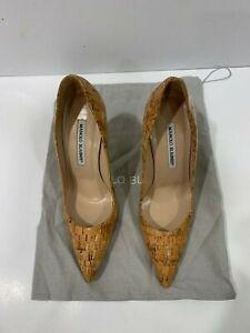 Manolo Blahnik Polished Cork Pump Never Worn with Dustbag Size 7.5 US