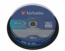 43746 Verbatim BD-R DL 50GB 6x Blu-ray Media 3D Disc (10 Pack Spindle)