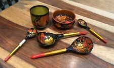 Vintage Russian Khokhloma Wooden Hand Painted Lacquered Bowl, Pot & 4 Spoons