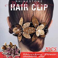 Women Rhinestone Double Flower Hair Clip Flexible Durable Dovetail Hair Clips