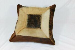 """Brand New 18x18"""" (45cm) Real Cow Hide and Leather Cushion Brown Tan Cow Skin"""