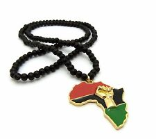 """NEW FIST POWER AFRICA PENDANT & 30"""" WOOD BEAD CHAIN HIP HOP NECKLACE - RC2445G"""