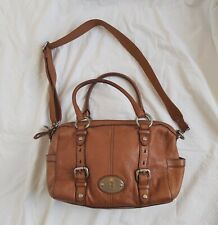 Fossil brown leather bag Two top handles + crossbody strap Chunky metal hardware