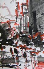 JOSE TRUJILLO ACRYLIC ON PAPER PAINTING CITY URBAN BUILDINGS FIGURES PEOPLE ART