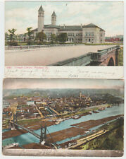 Pittsburgh, PA Antique 1906 Postcard LOT 2 Carnegie Library, View Mt Washington