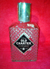 Old Charter Kentucky Straight Bourbon Whiskey Glass Decanter Bottle Aged 8 Years