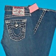 28 x 33 Pre-Owned TRUE RELIGION $319 JOEY SUPER T Flare WHITE STITCH JEANS