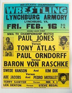 Vintage 1979 Mid-Atlantic Championship Wrestling Poster Paul Jones Tony Atlas