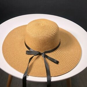 Handmade Knitted Straw Women Sun HAT Brown White Beige with Bow