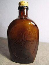 ANTIQUE VINTAGE AMBER GLASS LOG CABIN SYRUP INDIAN HEAD BOTTLE home decor