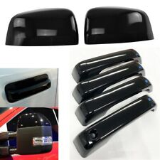 For 2017-2020 Ford F250 F350 Top Half GLOSSY BLACK Mirror + 4 Door Handle Covers