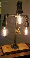 Handcrafted Industrial Pipe Three Tier steampunk style lamp with spigot