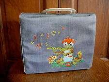 RED HEADED FROG PLAYING FLUTE Vintage BLUE DENIM PATTERN VINYL LUNCHBOX FR-GD