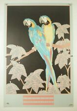 vintage Dan Goad MACAW PARROT watercolor painting poster art print 1989 24x36""