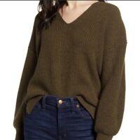 Madewell Women's Thornton Balloon Sleeve Sweater Wool Green Medium NWT N2610