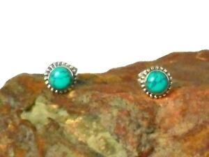 Round Blue TURQUOISE Sterling Silver 925 Gemstone Stud Earrings - 5 mm