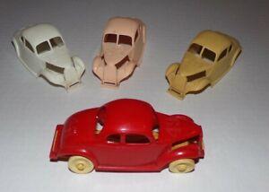 Vintage 50's PLASTIC FORD FLATHEAD COUPE STOCK CARS RACE TRACK SOUVENIR Lot Of 4
