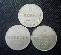 AUSTRIA / 3 x SILVER 6 KREUZER LOT / 1848 A - 1849 A - 1849 C