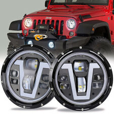 "2x 7"" LED Headlights V-Type DRL Turn Signal Lights For Jeep Wrangler JK LJ TJ"