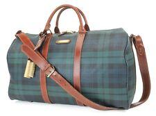 Authentic POLO RALPH LAUREN Green Tartan 2-Way Boston Hand Bag Purse #37054
