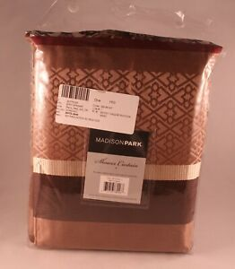Madison Park Princeton 72-Inch Shower Curtain in Red / Brown Geometric Jacquard