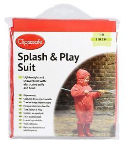 Kids Red Waterproof Splash & Play Suit with Hood 1-5 years outdoor activities