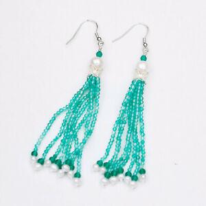 123#Green agate Face cutting beads w/freshwater pearl tassel Earrings/Dangle