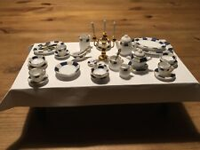 More details for dolls house dinner service, white china with blue and gold detail. 1/12 scale.