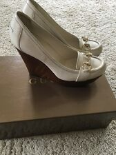 Gucci Cream White Leather Shoes/Wedge Size 37c